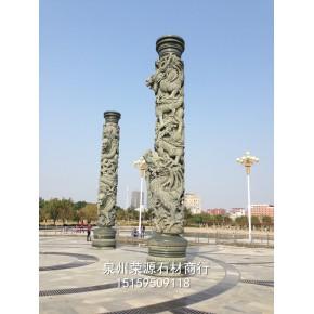 惠安石雕龙柱 石雕文化柱 寺庙青石双龙柱雕刻 广场盘龙柱