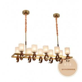 客廳全銅吊燈-客廳燈飾燈具廠家-銅木源燈飾加盟