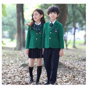 春秋修身英伦风西装中小学生班服儿童校服套装